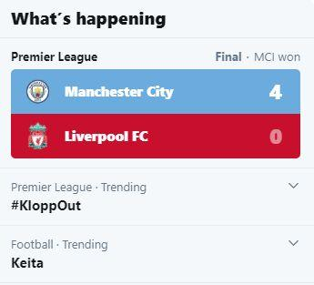 KloppOut trends after Liverpool thrashed by Manchester City