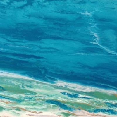 "Ocean, Abstract Seascape Painting,Coastal Art , Expressionism ""Emerald Waters"" by International Contemporary Seascape Artist Kimberly Conrad"