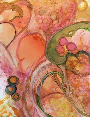 "Contemporary Abstract Painting,Orange Art, Alcohol Ink ""POMEGRANATES AND PERSIMMONS"" by New Orleans Artist Lou Jordan"