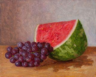 Watermelon and grapes painting original still life fruit