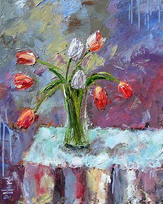 """Floral Still Life Painting Art Colorful Flowers, Tulips """"Two White Tulips"""" by Texas Artist Debra Hurd"""