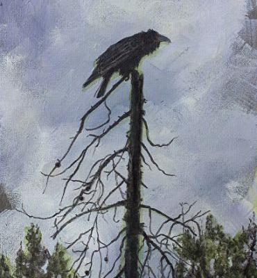"""Bird Fine Art Painting, Wildlife Art """"THE SENTINEL"""" by Colorado Artist Nancee Jean Busse, Painter of the American West"""