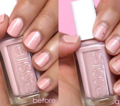 Essie Expressie Quick Dry Nail Polish in Crop Top and Roll, Before and After 7 Days