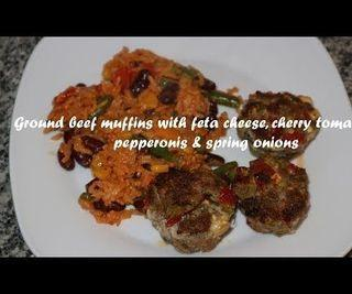 Ground Beef Muffins With Feta Cheese, Cherry Tomatoes, Pepperonis & Spring Onions Recipe