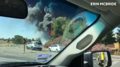 Tanker truck fire caught on tape in California