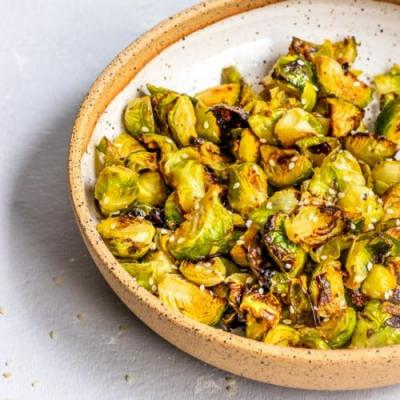 Miso Garlic Roasted Brussel Sprouts