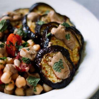 Chickpea Salad + Black Garlic Sauce