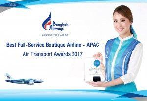 "Bangkok Airways wins ""Best Full-Service Boutique Airline - APAC"" By Air Transport Awards 2017"