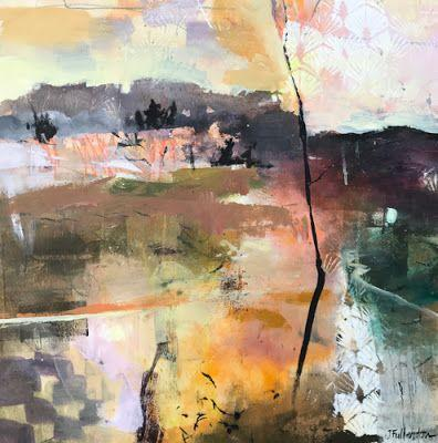"Contemporary Abstract Landscape Art Painting ""Radiance"" by Intuitive Artist Joan Fullerton"