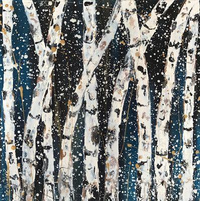 """Aspen Tree Painting,Abstract Landscape,Birch Trees """"Dancing in the Moonlight-Winter Aspens 2017 Series"""" by Colorado Contemporary Landscape Artist Kimberly Conrad"""