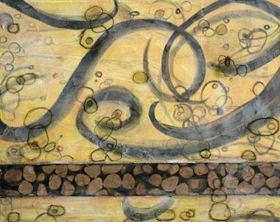 "Contemporary Abstract Art Painting ""Water Stones"" by Santa Fe Contemporary Artist Sandra Duran Wilson"