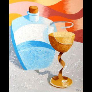 Mark Webster - Abstract Wine Glass and Decanter Oil Painting
