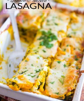 Oven Roasted Butternut Squash Lasagna with Spinach and Chicken