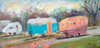 """New """"Happy Campers"""" Oil Painting by Contemporary Impressionist Niki Gulley"""