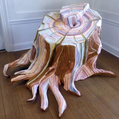 Fabric Tree Stumps Formed From Pieces of Discarded Clothing by Tamara Kostianovsky