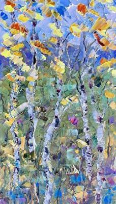 "Original Palette Knife Aspen Landscape Painting ""Dreaming of Spring"" by Colorado Impressionist Judith Babcock"
