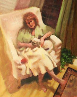 """Fine Art Oil Painting, Woman & Dog, Figurative, Interior View """"Me and My Dog"""" by Illinois Artist Marilyn Weisberg"""