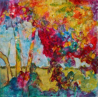 """Bright Colorful Contemporary Landscape Painting, Abstract Art Trees """"The Vision"""" by Passionate Purposeful Painter Holly Hunter Berry"""