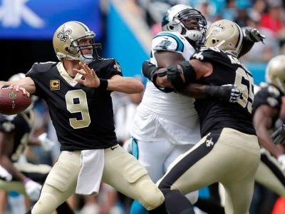 Brees throws three touchdowns in Saints win over Panthers