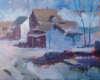 In the Village of East Davenport 12x16 acrylic on canvas