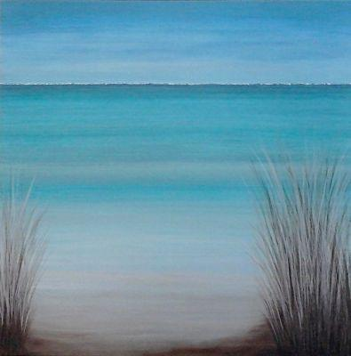 "Contemporary Seascape Art ""SEASCAPE WITH GRASSES"" by Contemporary Artist Brian Billow and Michele Scrivner"