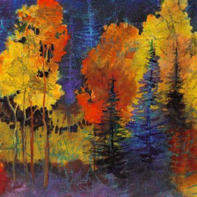 "Faux batik painting, ""Autumn Glow"" by Colorado Mixed Media Abstract Artist Carol Nelson"