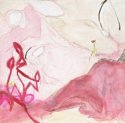 "Contemporary Art, Abstract Expressionist Fine Art Painting, Art for Sale ""CHAMPAGNE & STRAWBERRIES"