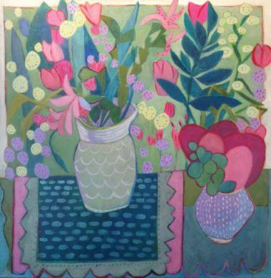 """Contemporary Still Life Art Painting """"Day in the Garden"""" by Santa Fe Artist Annie O'Brien Gonzales"""