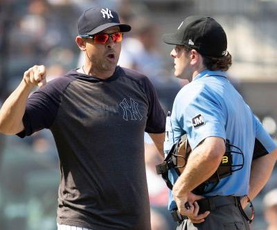 Yankees' umpire battle flares up again in tight win over Indians