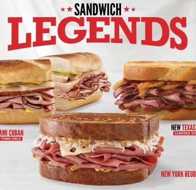 Sandwich Legends Have Arrived at Arby's - Miami Cuban, Texas Brisket and New York Reuben Honor Sandwich Royalty