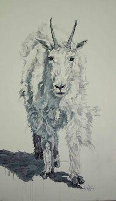 "Contemporary Wildlife Art, Mountain Goat, Fine Art Oil Painting ""HIGHLANDER"" by Contemporary Animal Artist Patricia A. Griffin"