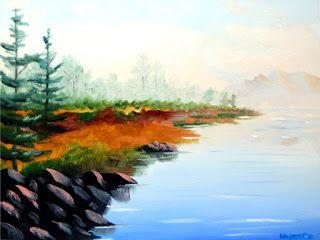 Mountain Lake Landscape Oil Painting 4711