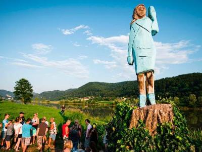 A wooden statue of Melania Trump in her native Slovenia was set on fire on the Fourth of July