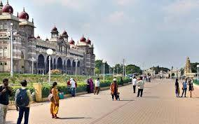 On Sunday, Mysuru wore a festive look as several visitors gathered around the city palace