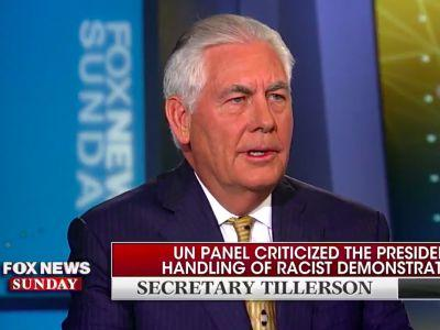 When asked if the president represents American values, Rex Tillerson says Trump 'speaks for himself'