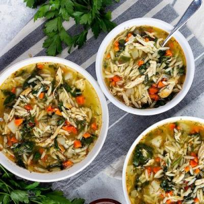 Greek Lemon Chicken Orzo Soup Recip