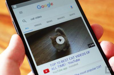 Google mobile search shows 6-second video previews