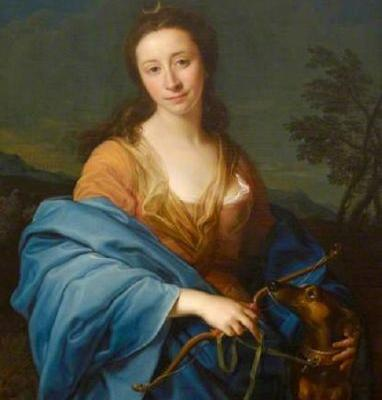 1751 Allegory of Diana Goddess of the Hunt with faithful Dogs