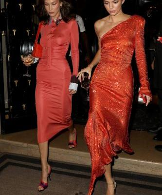 Bella Hadid, Kendall Jenner and Rosie Huntington-Whiteley Stepped Out in Matching Red-Orange Dresses