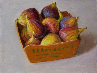 Figs fruit still life oil painting daily painting for kitchen a painting a day small work of art contemporary realism