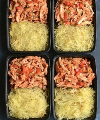 Meal Prep Buffalo Chicken Spaghetti Squash {Paleo, GF, Low Cal}
