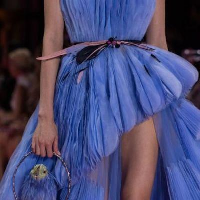Vibrant blue tulle dress featured in the Georges HOBEIKA Bird of