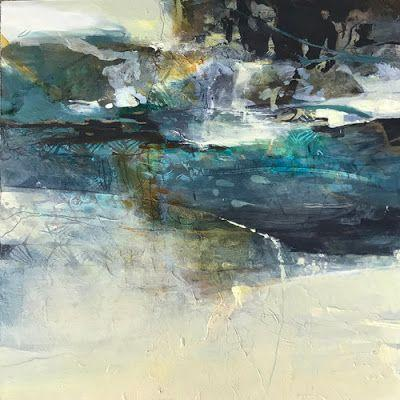 """Contemporary Art, Abstract Landscape Painting """"RESPITE"""" by Intuitive Artist Joan Fullerton"""