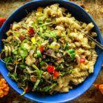 Creamy Butternut Squash Pasta with Shredded Brussles Sprouts, Bacon and Raisins
