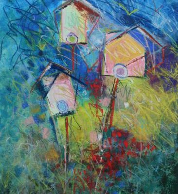 BIRDHOUSES, Two, by Carol Engles
