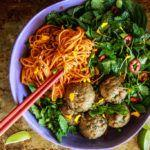 Paleo Asian Sweet Potato Noodles with Pork Ginger Meatballs