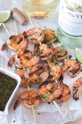 National Pinot Grigio Day: Mango and Garlic Grilled Shrimp