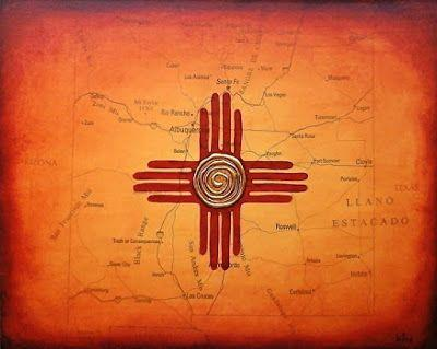 "Contemporary Map Art ""NEW MEXICO MAP PAINTING FLAG WITH ZIA SUN "" by Contemporary Artist Brian Billow"