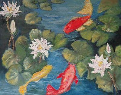 """Sea Life Art Painting,Fish, KOI """"The Block Party"""" by Florida Impressionism Artist Annie St Martin"""