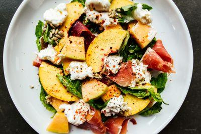 The Summer Salad You Should Make Right Now: Peach Melon Basil and Burrata